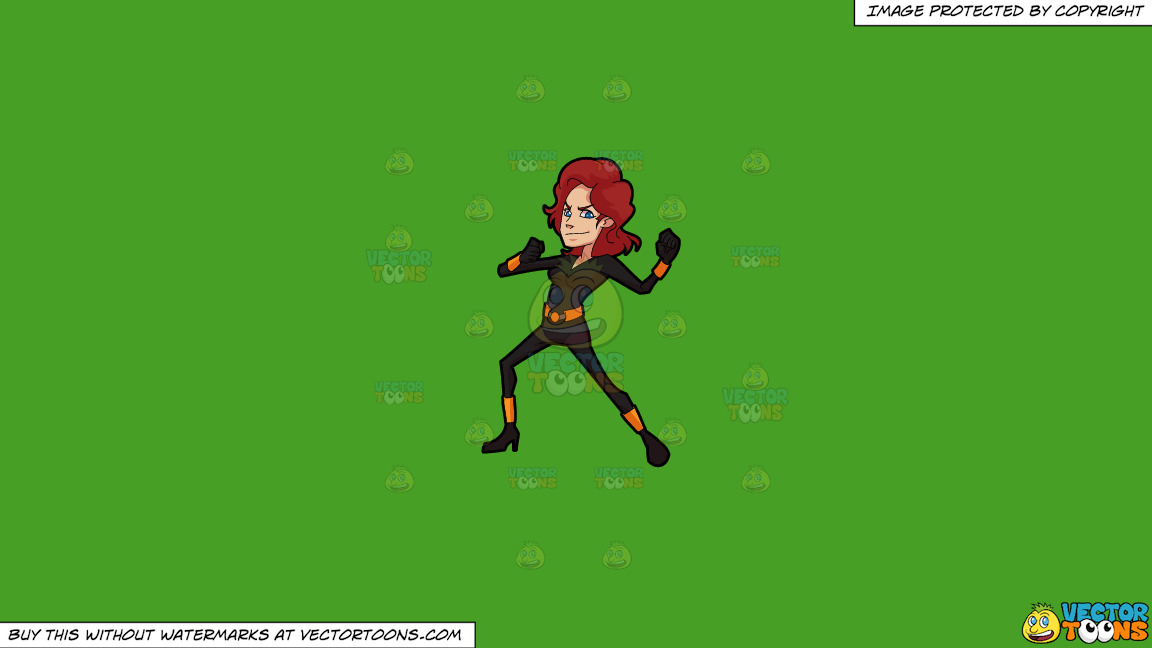 A Woman Wearing A Skin Tight Black Costume On A Solid Kelly Green 47a025 Background thumbnail