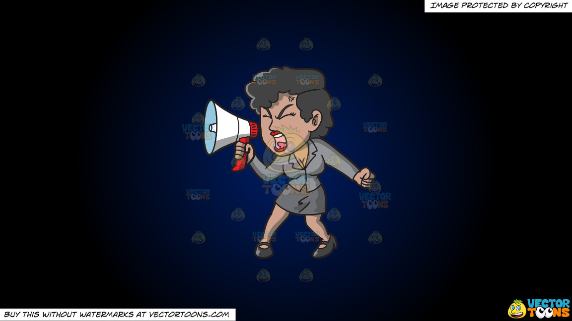 A Woman Yelling Something Into Her Megaphone On A Dark Blue And Black Gradient Background thumbnail