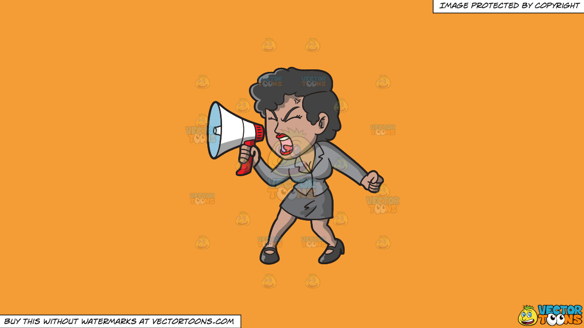 A Woman Yelling Something Into Her Megaphone On A Solid Deep Saffron Gold F49d37 Background thumbnail