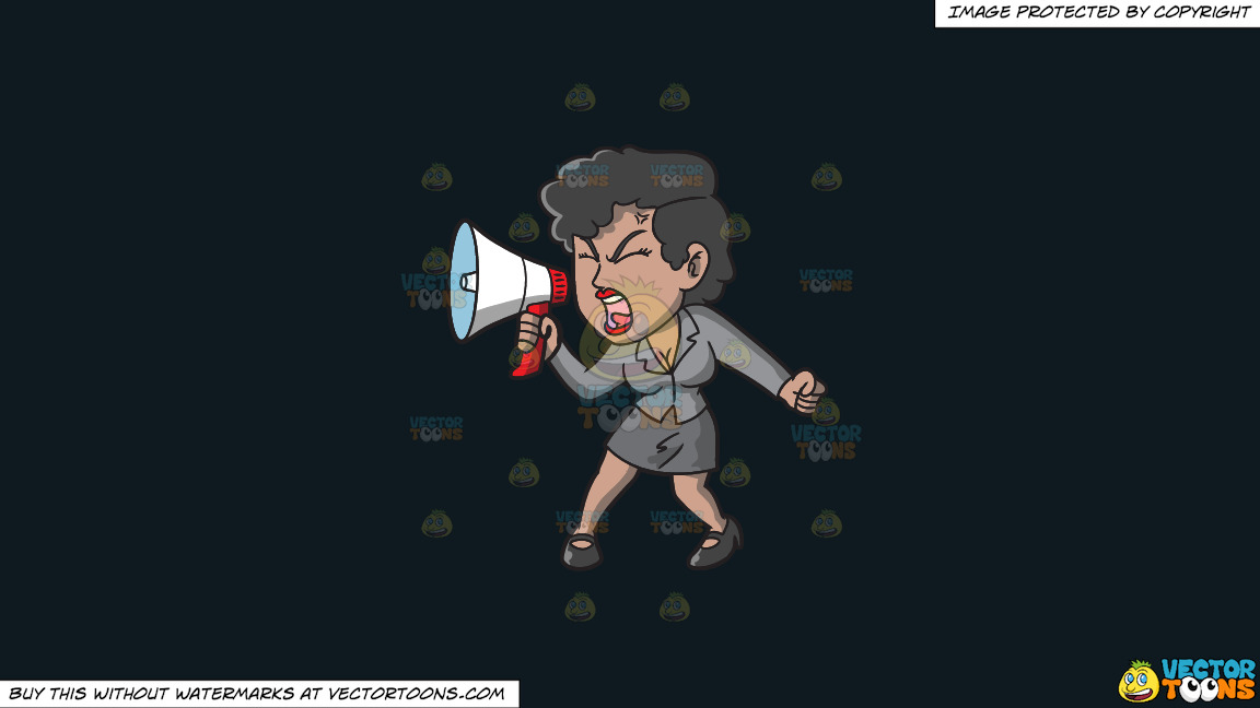 A Woman Yelling Something Into Her Megaphone On A Solid Off Black 0f1a20 Background thumbnail