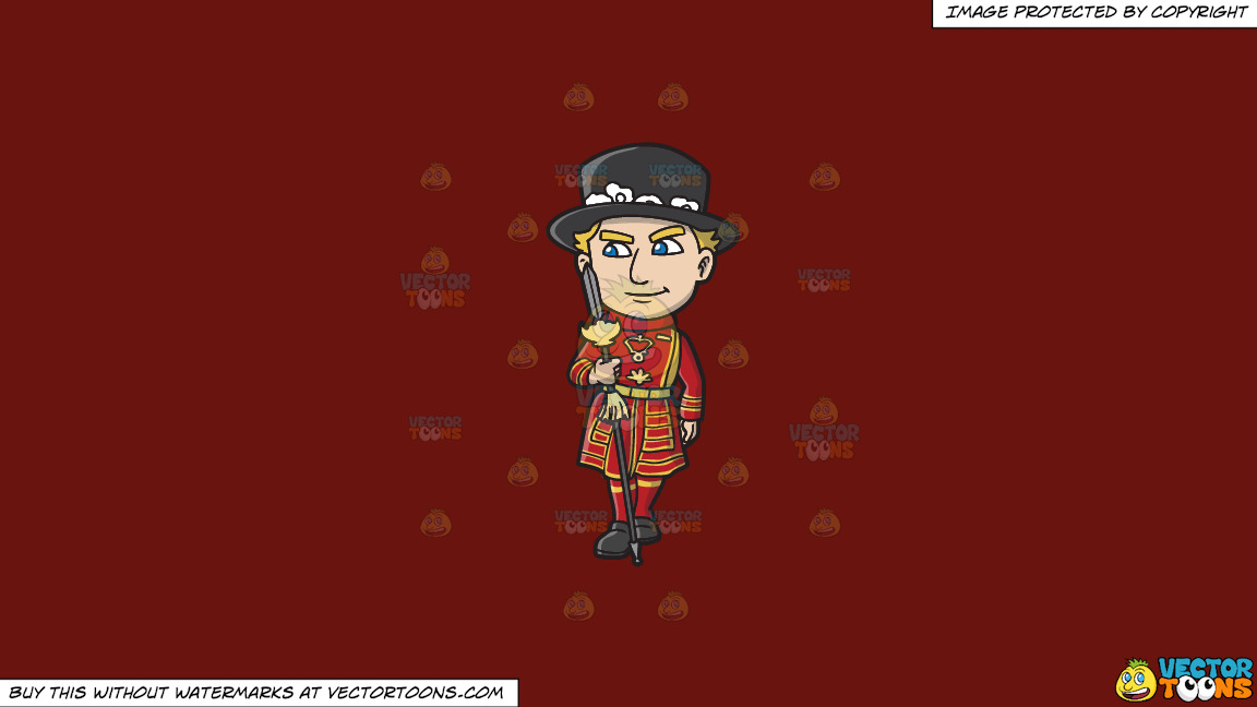 A Yeoman Warder In His State Uniform On A Solid Maroon 69140e Background thumbnail