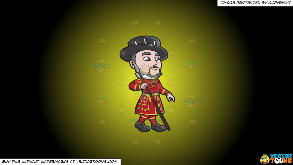 A Yeoman Warder With A Spear On A Yellow And Black Gradient Background thumbnail