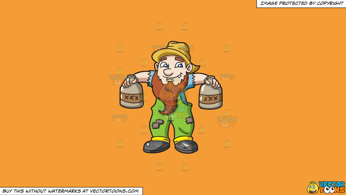 A Yokel Carrying Bottles Of Alcohol On A Solid Deep Saffron Gold F49d37 Background thumbnail