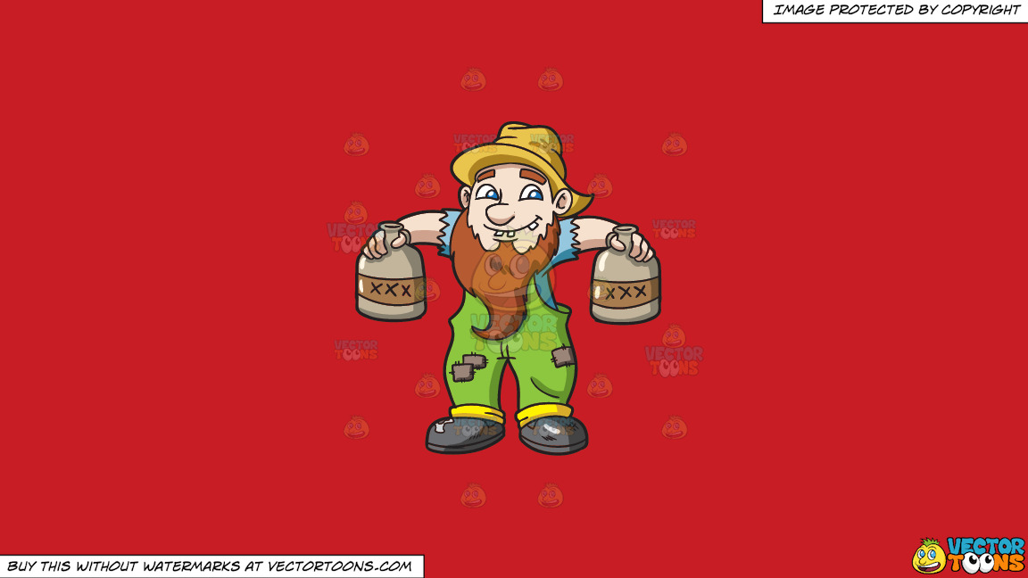 A Yokel Carrying Bottles Of Alcohol On A Solid Fire Engine Red C81d25 Background thumbnail