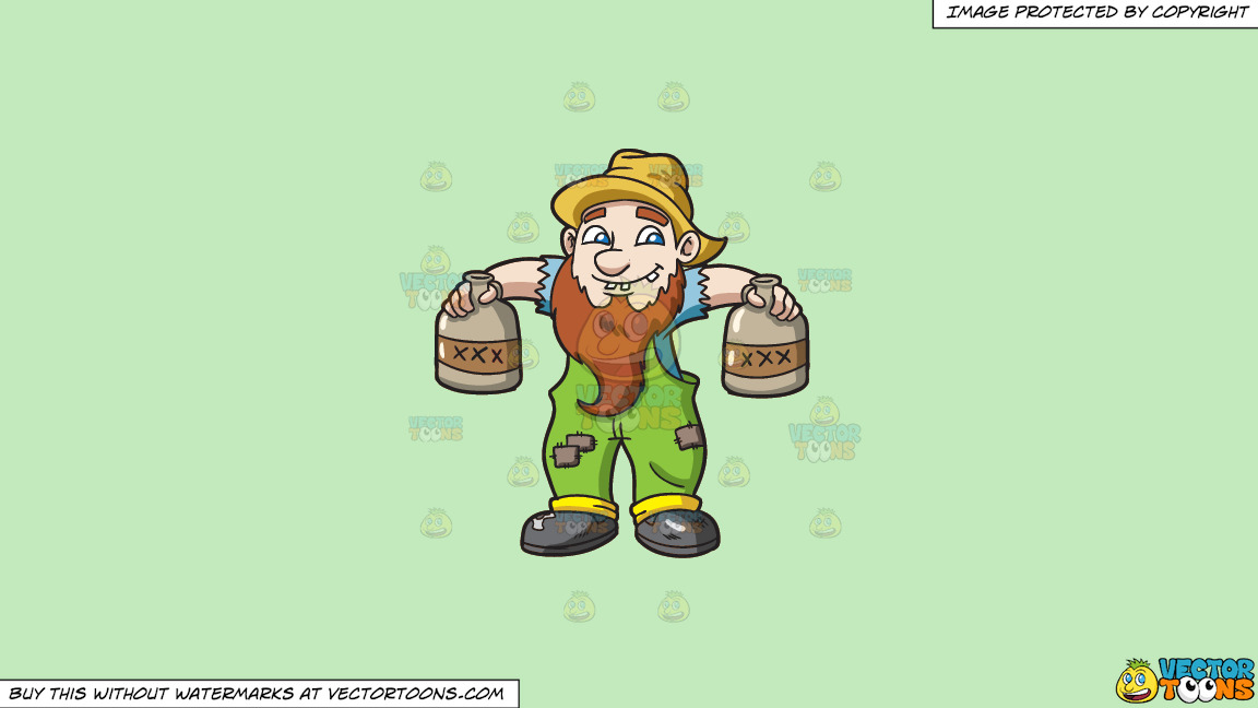 A Yokel Carrying Bottles Of Alcohol On A Solid Tea Green C2eabd Background thumbnail
