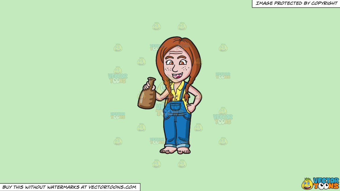 A Yokel Girl With A Bottle On A Solid Tea Green C2eabd Background thumbnail