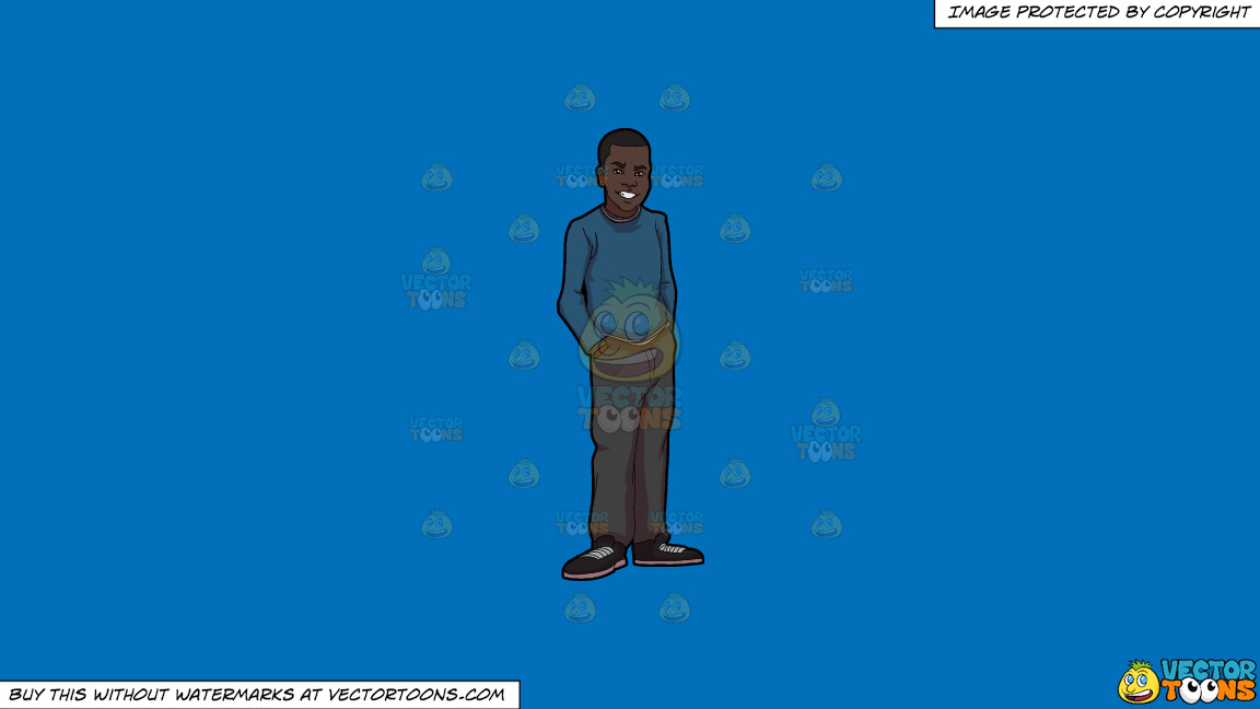 A Young African American Man Smiling On A Solid Spanish Blue 016fb9 Background thumbnail
