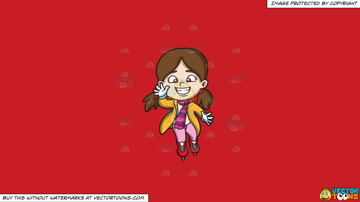 A Young And Friendly Ice Skater On A Solid Fire Engine Red C81d25 Background thumbnail