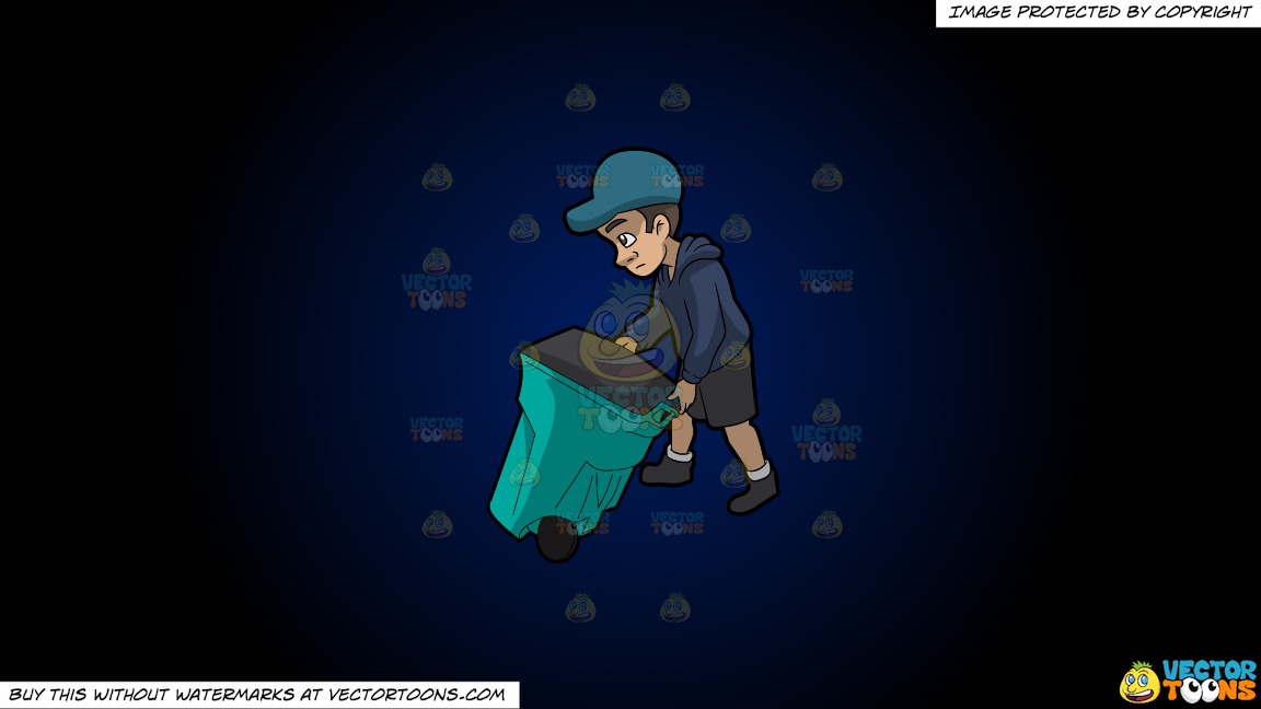 A Young And Sad Male Sanitation Worker On A Dark Blue And Black Gradient Background thumbnail