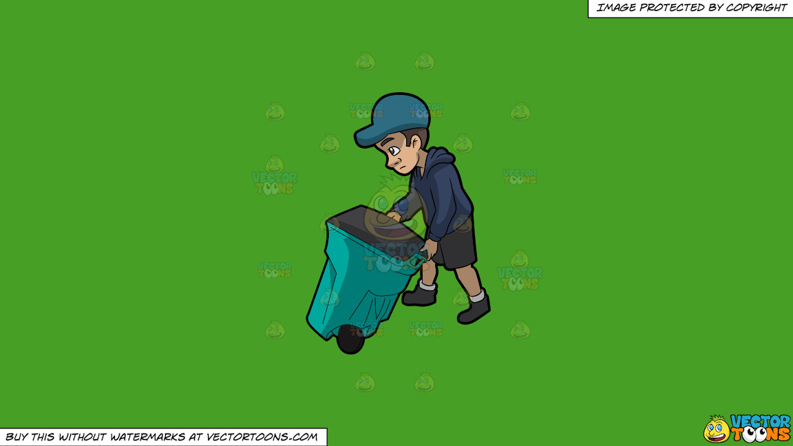 A Young And Sad Male Sanitation Worker On A Solid Kelly Green 47a025 Background thumbnail
