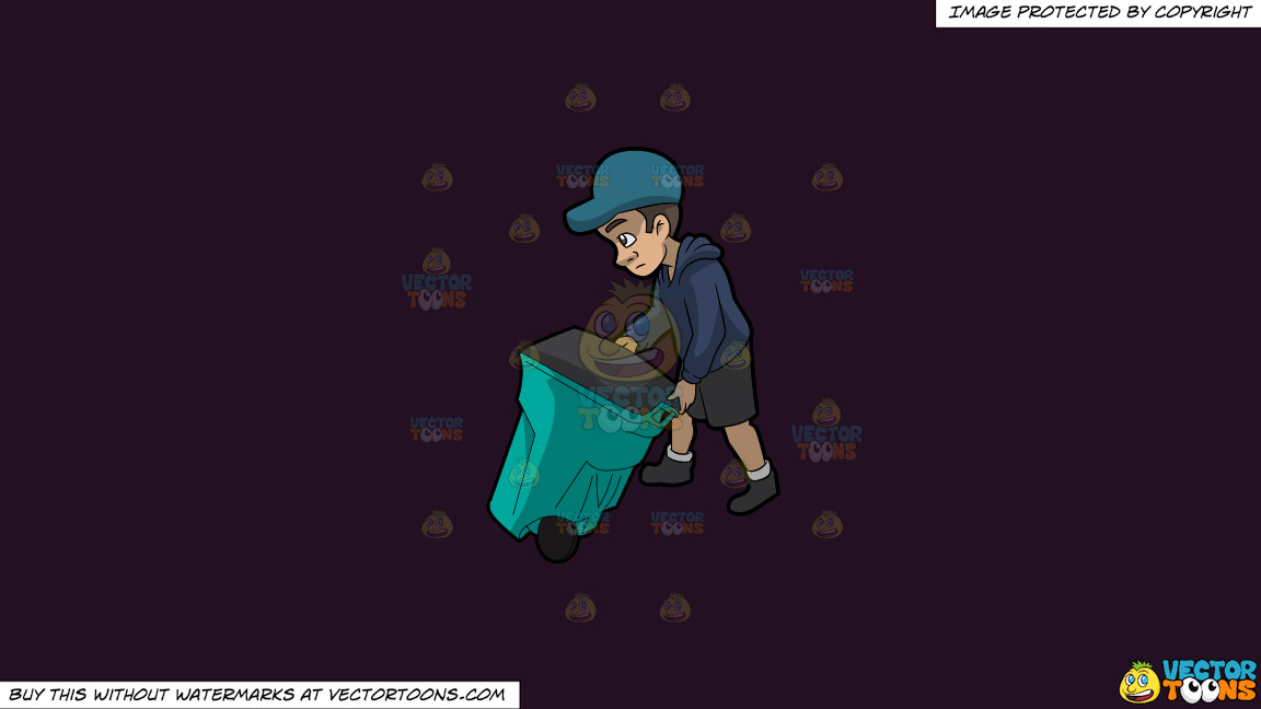A Young And Sad Male Sanitation Worker On A Solid Purple Rasin 241023 Background thumbnail