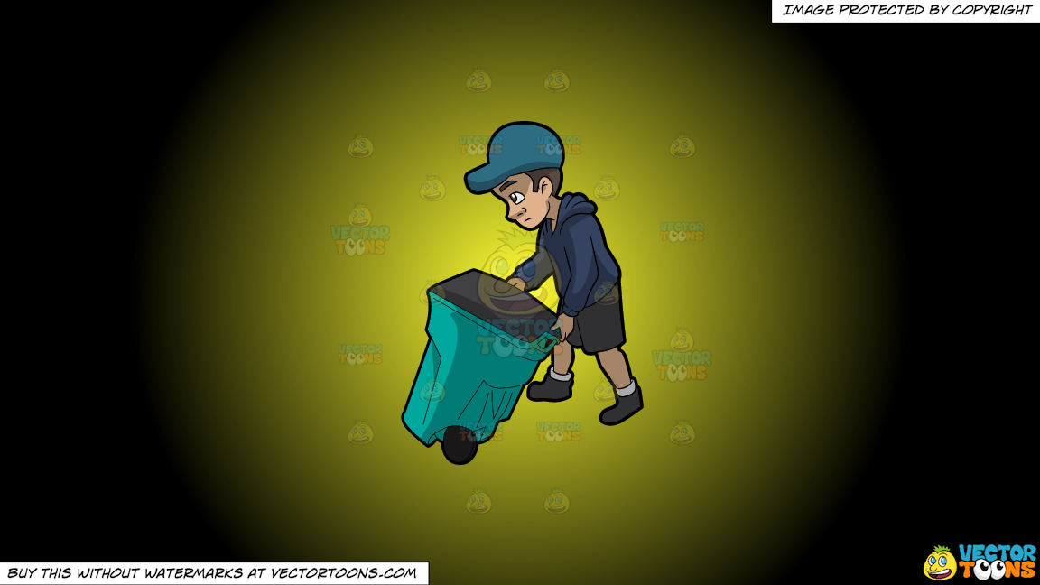 A Young And Sad Male Sanitation Worker On A Yellow And Black Gradient Background thumbnail