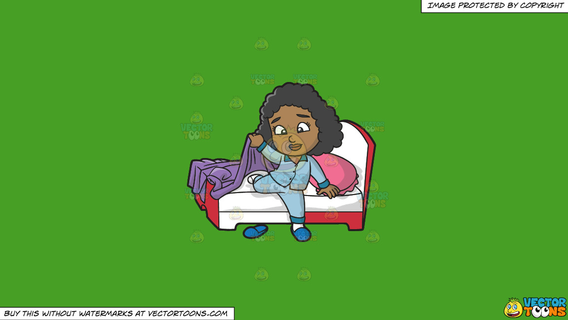 A Young Black Girl Gets Ready To Start Her Day On A Solid Kelly Green 47a025 Background thumbnail