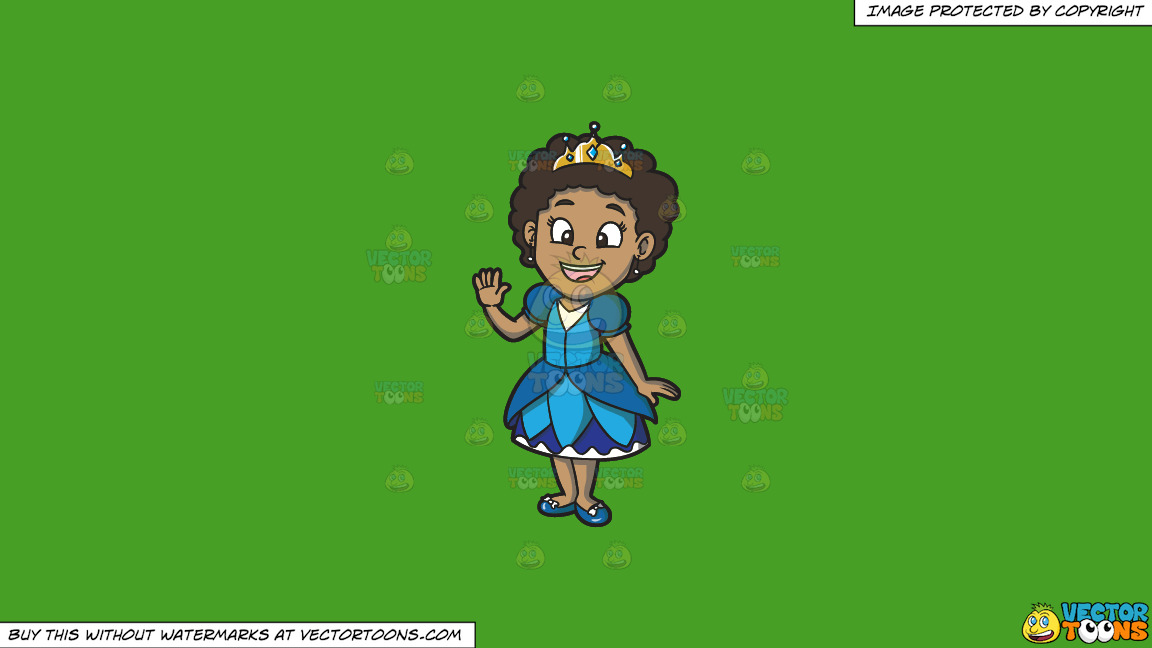 A Young Black Princess On A Solid Kelly Green 47a025 Background thumbnail