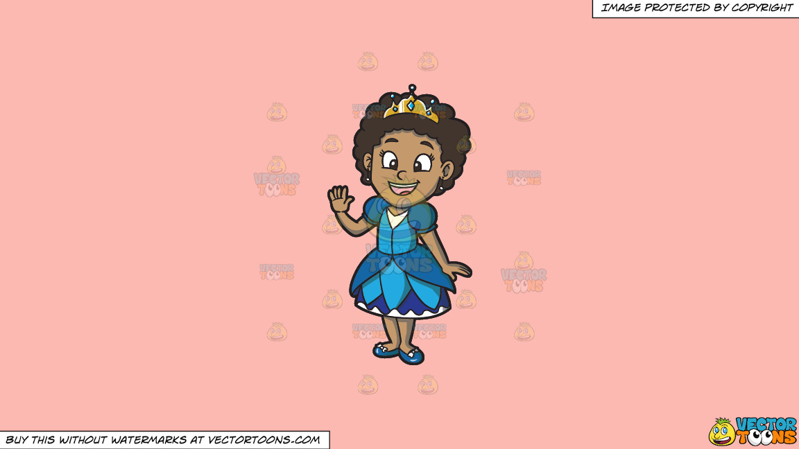 A Young Black Princess On A Solid Melon Fcb9b2 Background thumbnail