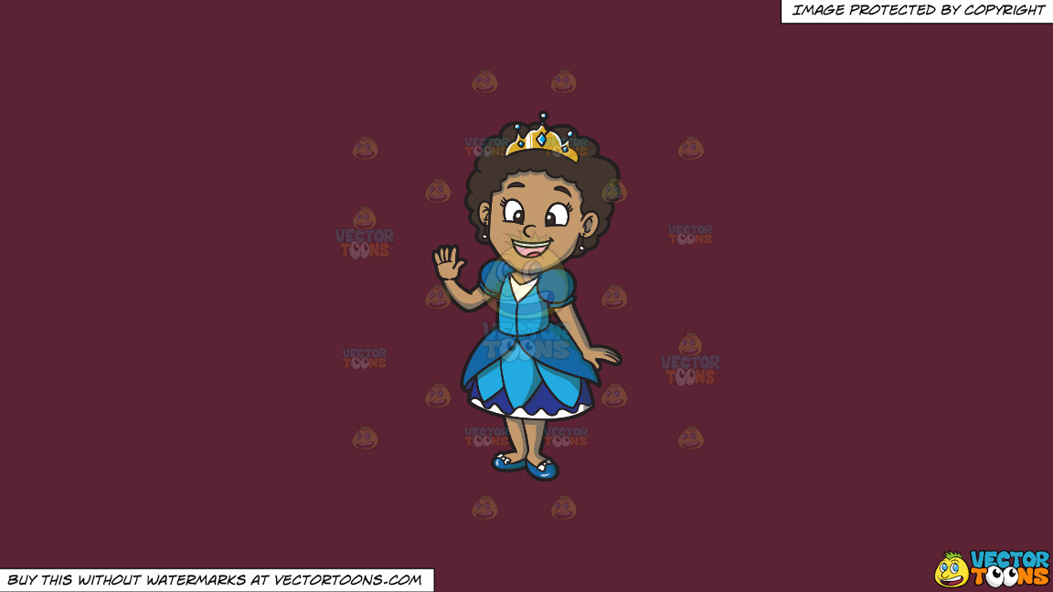 A Young Black Princess On A Solid Red Wine 5b2333 Background thumbnail