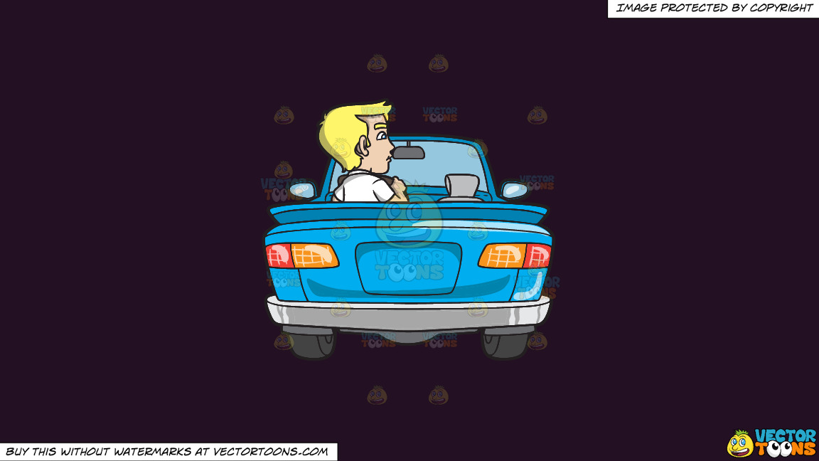 A Young Blonde Man Driving A Convertible Blue Car On A Solid Purple Rasin 241023 Background thumbnail