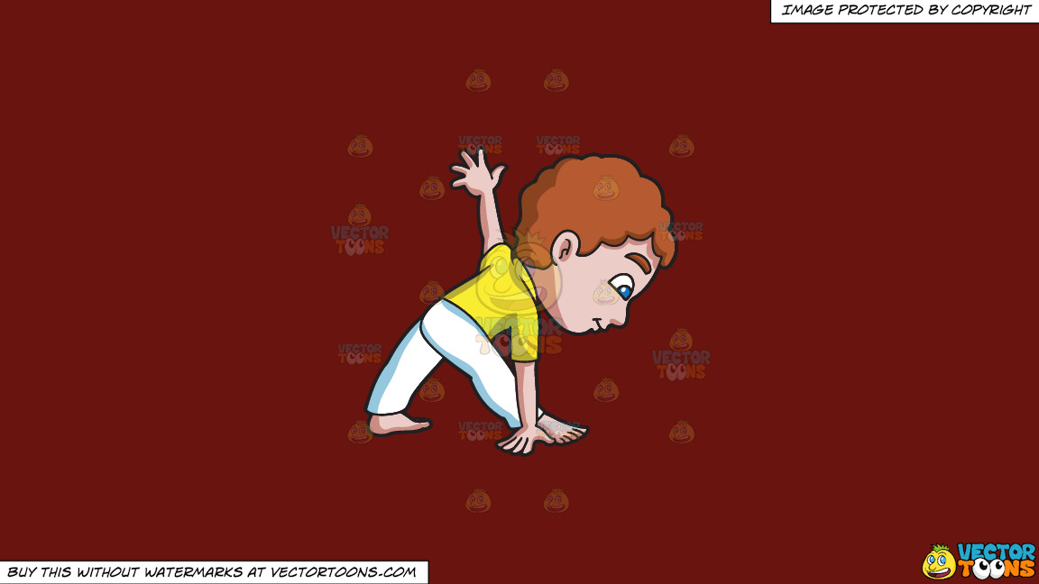 A Young Boy Doing Triangle Pose On A Solid Maroon 69140e Background thumbnail