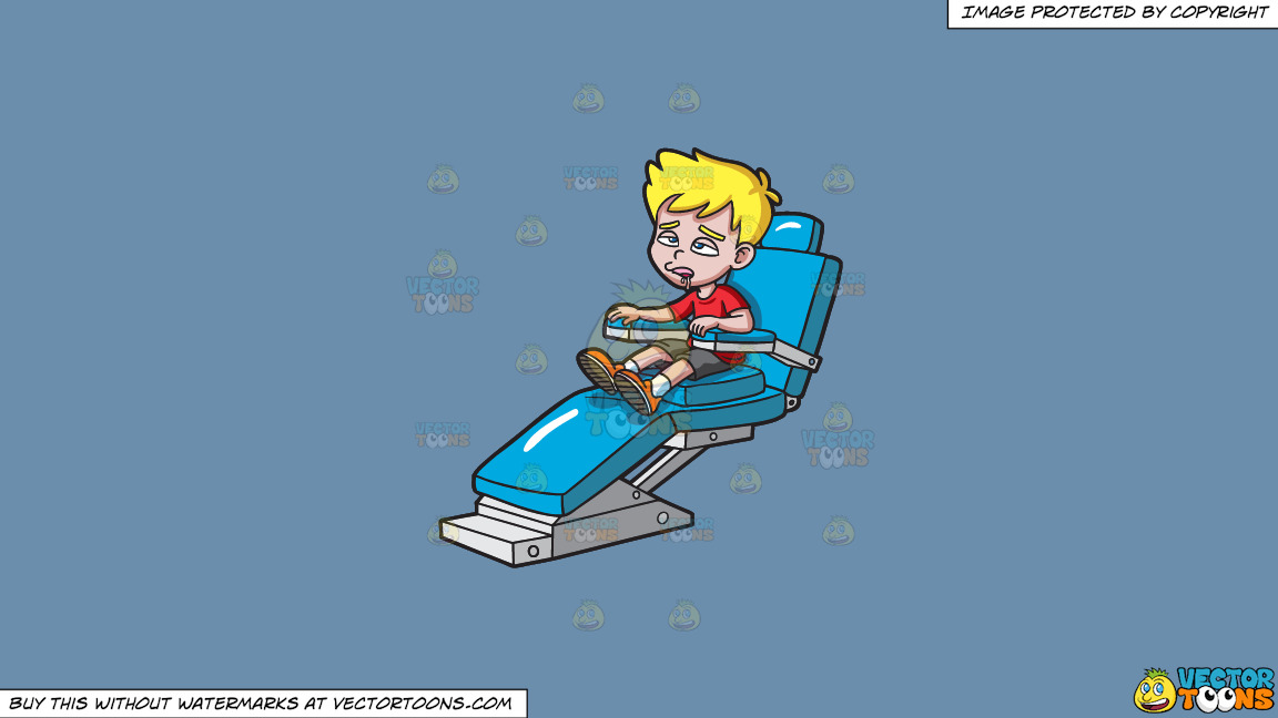 A Young Boy Drooling At The Dentist On A Solid Shadow Blue 6c8ead Background thumbnail