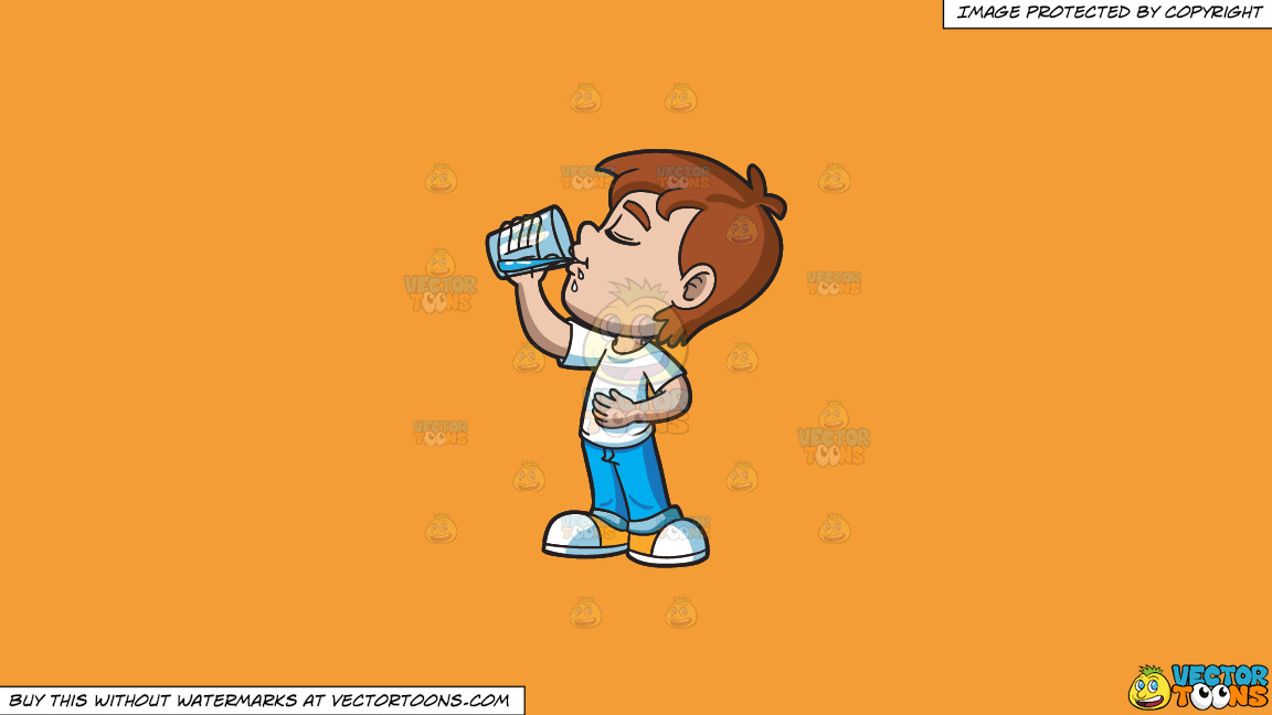 A Young Boy Looking Satisfied While Drinking Water On A Solid Deep Saffron Gold F49d37 Background thumbnail