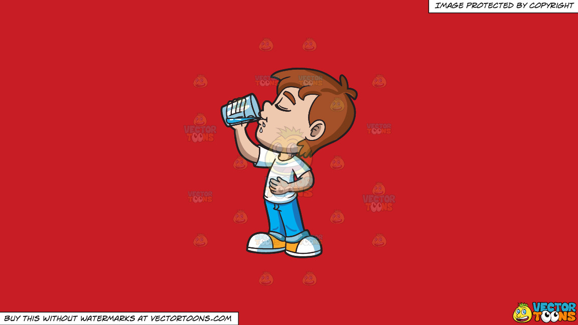 A Young Boy Looking Satisfied While Drinking Water On A Solid Fire Engine Red C81d25 Background thumbnail