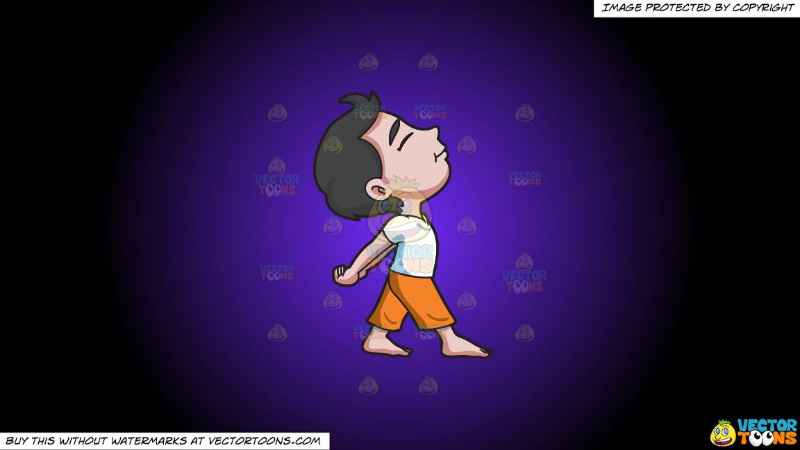 A Young Boy Relaxes And Stretches His Body During Yoga Class On A Purple And Black Gradient Background thumbnail
