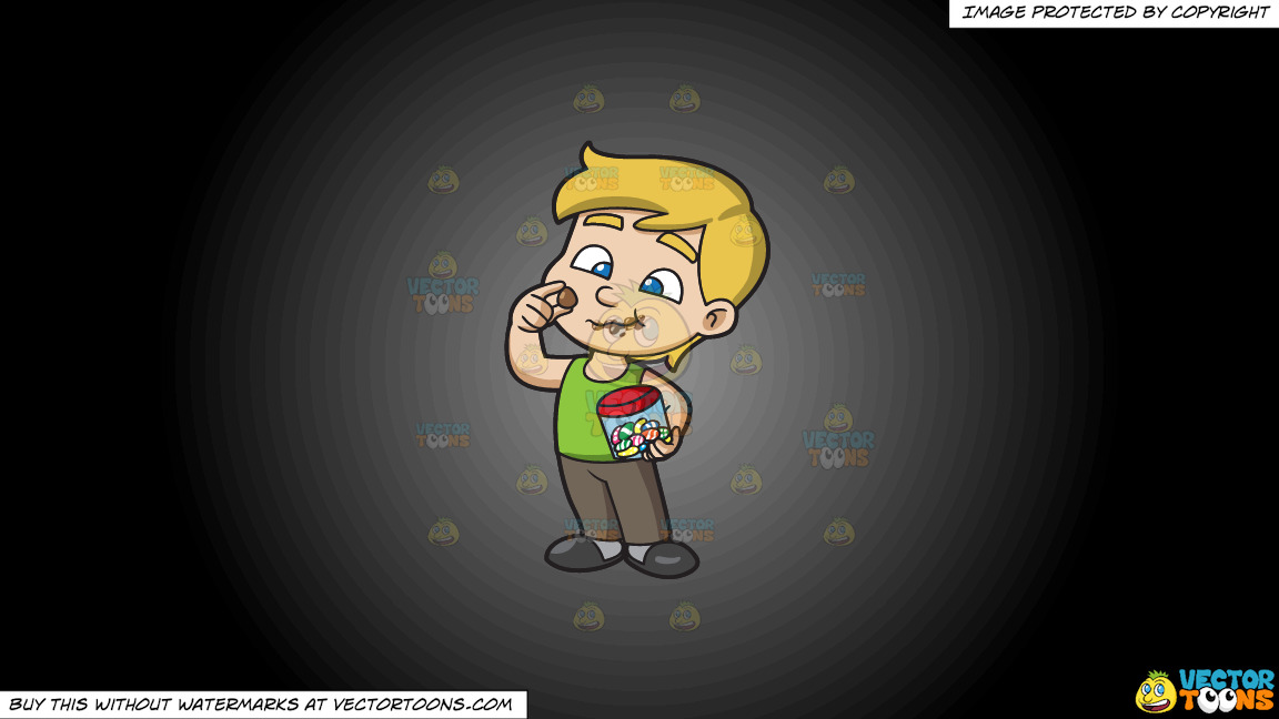 A Young Boy Relishes And Munches A Lot Of Easter Egg Chocolates On A Grey And Black Gradient Background thumbnail