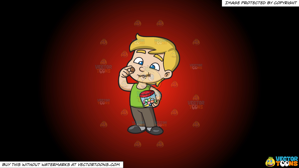A Young Boy Relishes And Munches A Lot Of Easter Egg Chocolates On A Red And Black Gradient Background thumbnail
