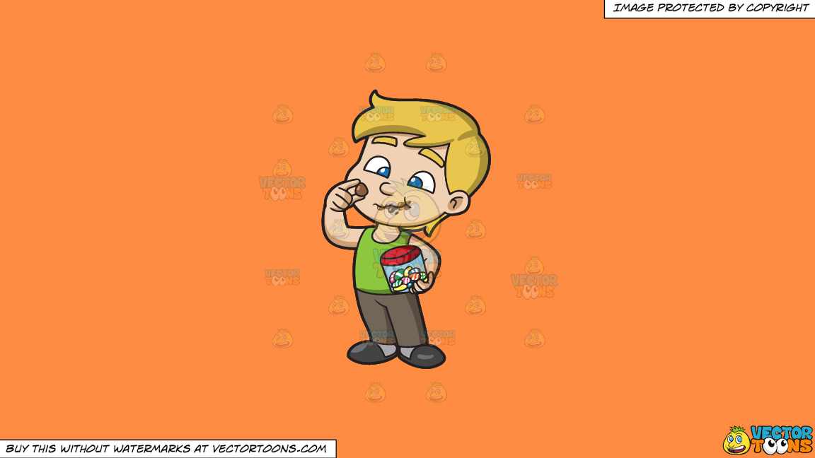 A Young Boy Relishes And Munches A Lot Of Easter Egg Chocolates On A Solid Mango Orange Ff8c42 Background thumbnail