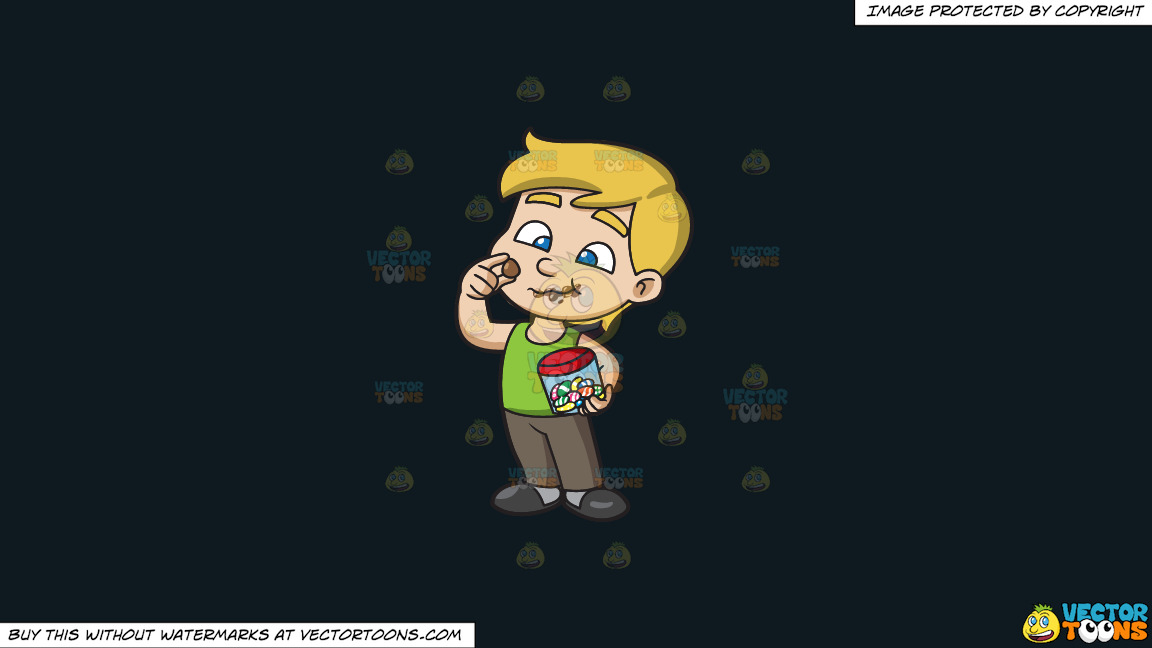 A Young Boy Relishes And Munches A Lot Of Easter Egg Chocolates On A Solid Off Black 0f1a20 Background thumbnail