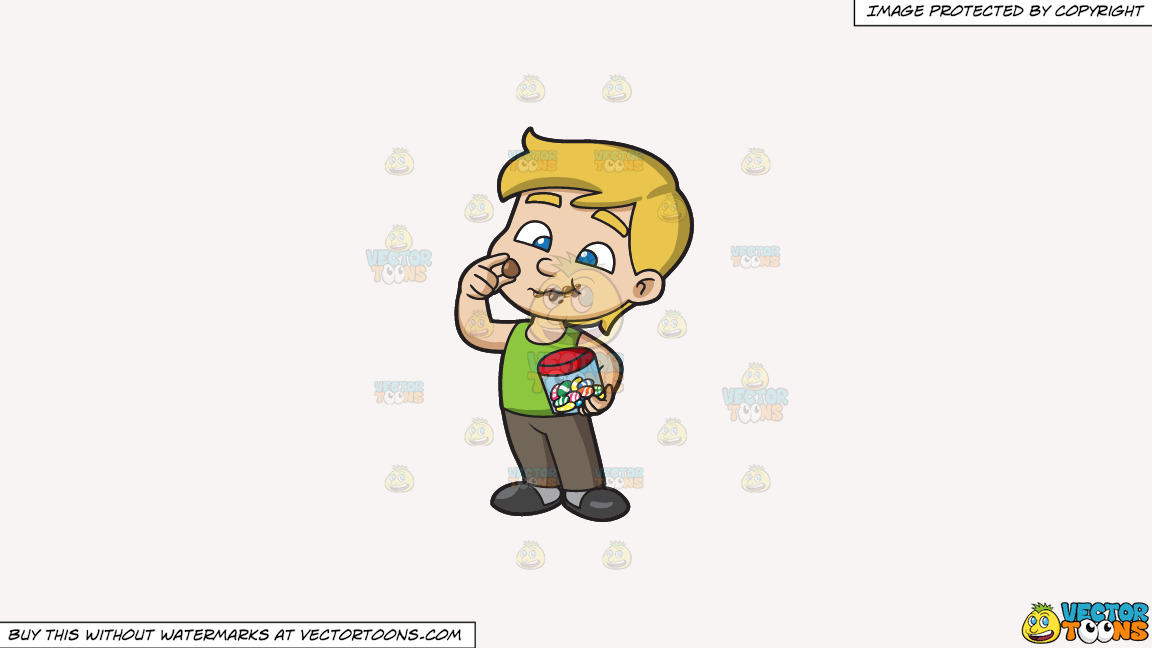 A Young Boy Relishes And Munches A Lot Of Easter Egg Chocolates On A Solid White Smoke F7f4f3 Background thumbnail