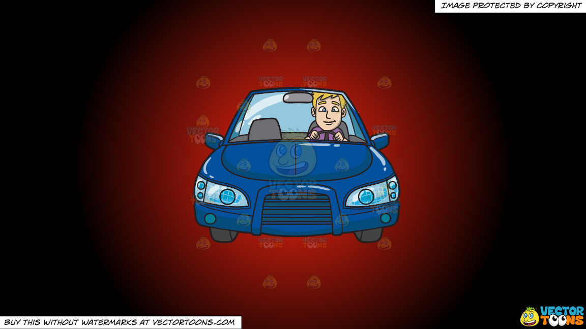 A Young Executive Driving A Blue Sedan On A Red And Black Gradient Background thumbnail