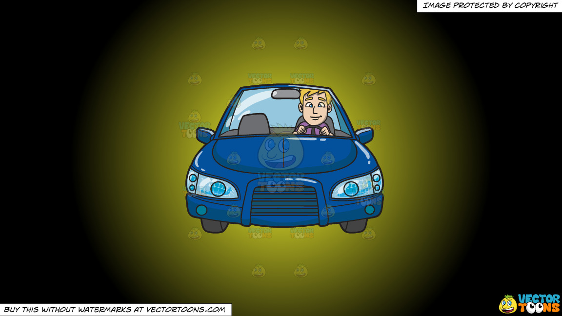 A Young Executive Driving A Blue Sedan On A Yellow And Black Gradient Background thumbnail