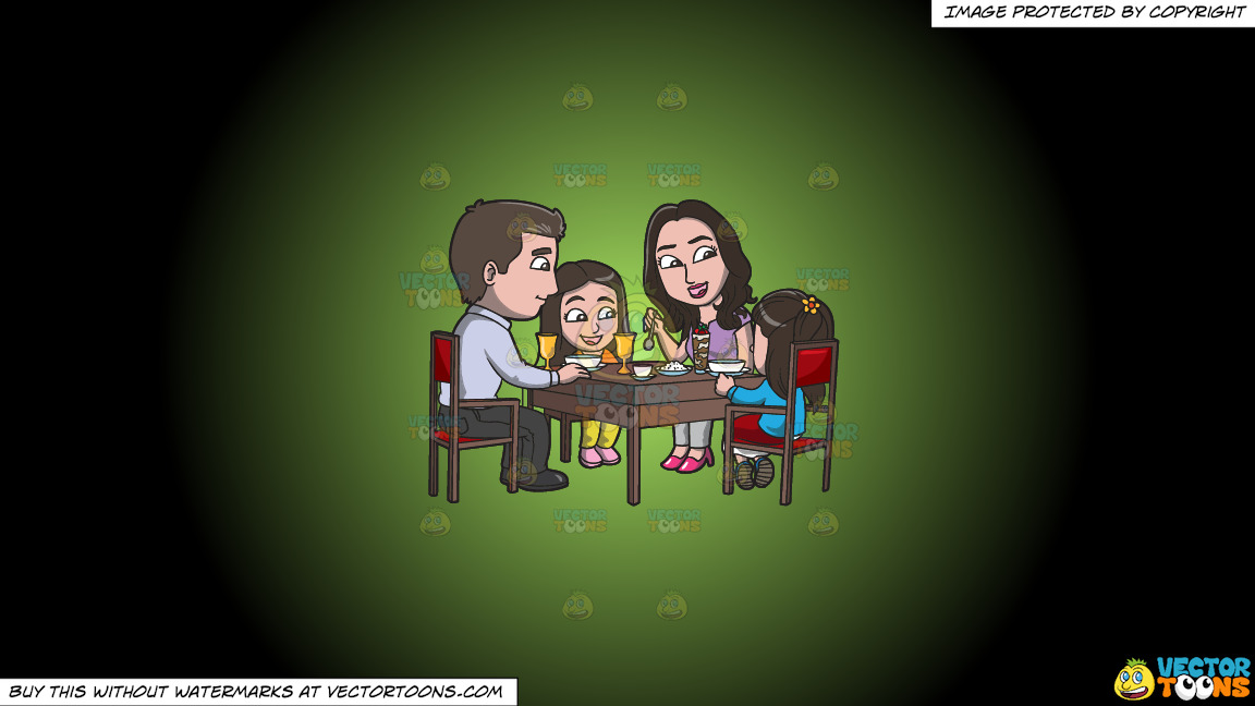 A Young Family At A Restaurant For A Light Dinner On A Green And Black Gradient Background thumbnail