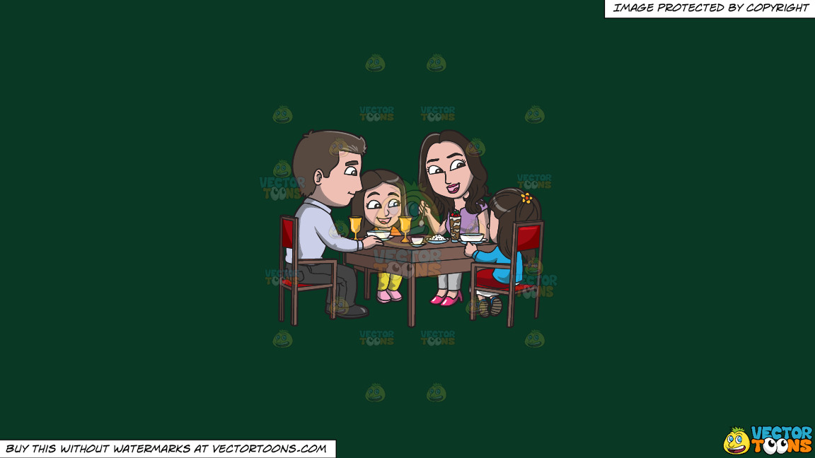 A Young Family At A Restaurant For A Light Dinner On A Solid Dark Green 093824 Background thumbnail