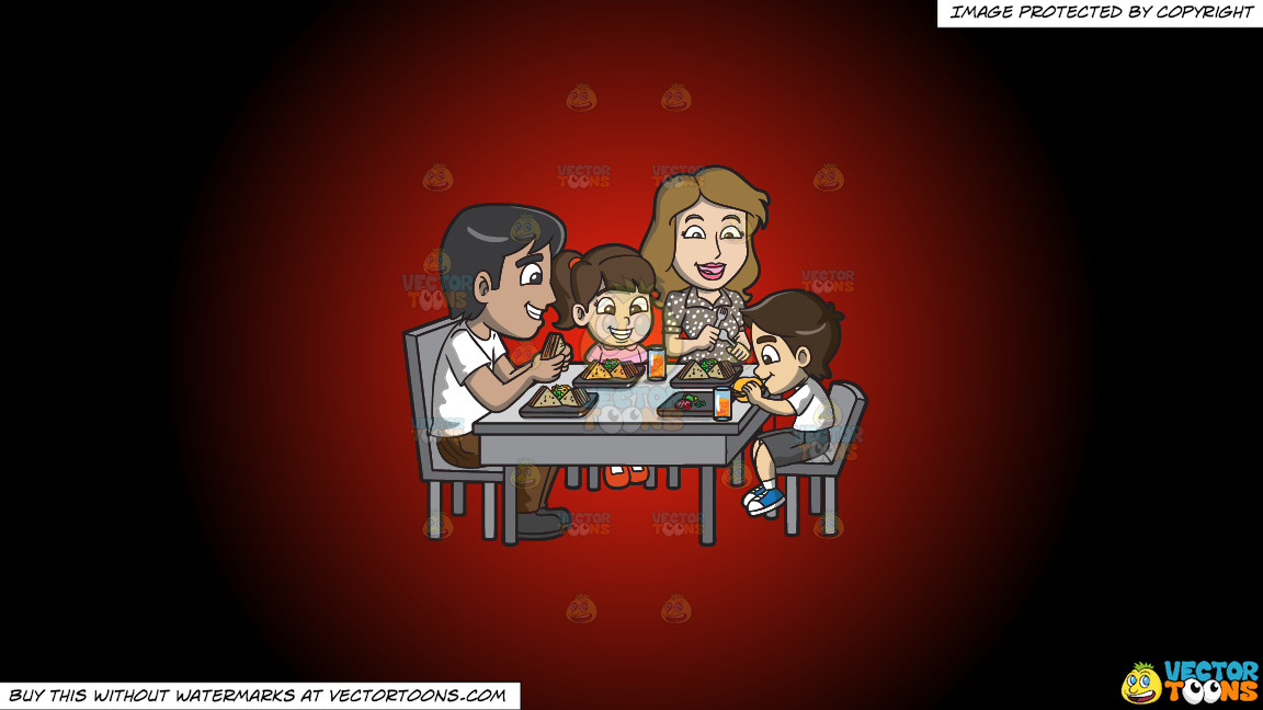 A Young Family Enjoying Some Yummy Sandwiches On A Red And Black Gradient Background thumbnail