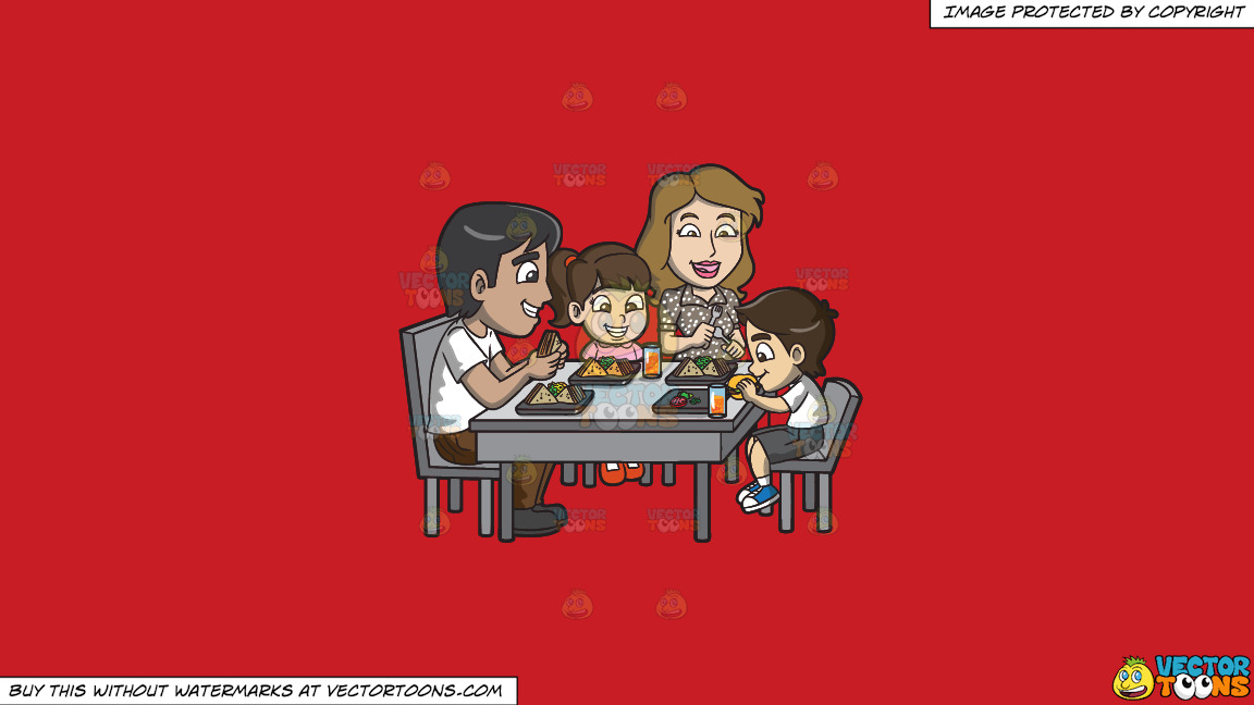A Young Family Enjoying Some Yummy Sandwiches On A Solid Fire Engine Red C81d25 Background thumbnail