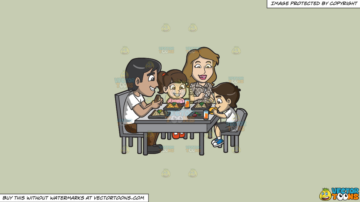 A Young Family Enjoying Some Yummy Sandwiches On A Solid Pale Silver C6ccb2 Background thumbnail