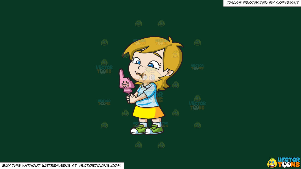 A Young Girl Nibbles A Pink Easter Bunny Chocolate On A Solid Dark Green 093824 Background thumbnail