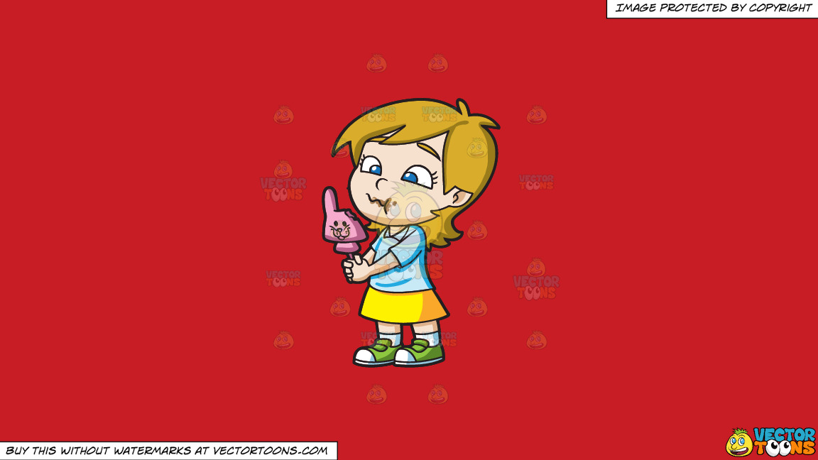 A Young Girl Nibbles A Pink Easter Bunny Chocolate On A Solid Fire Engine Red C81d25 Background thumbnail