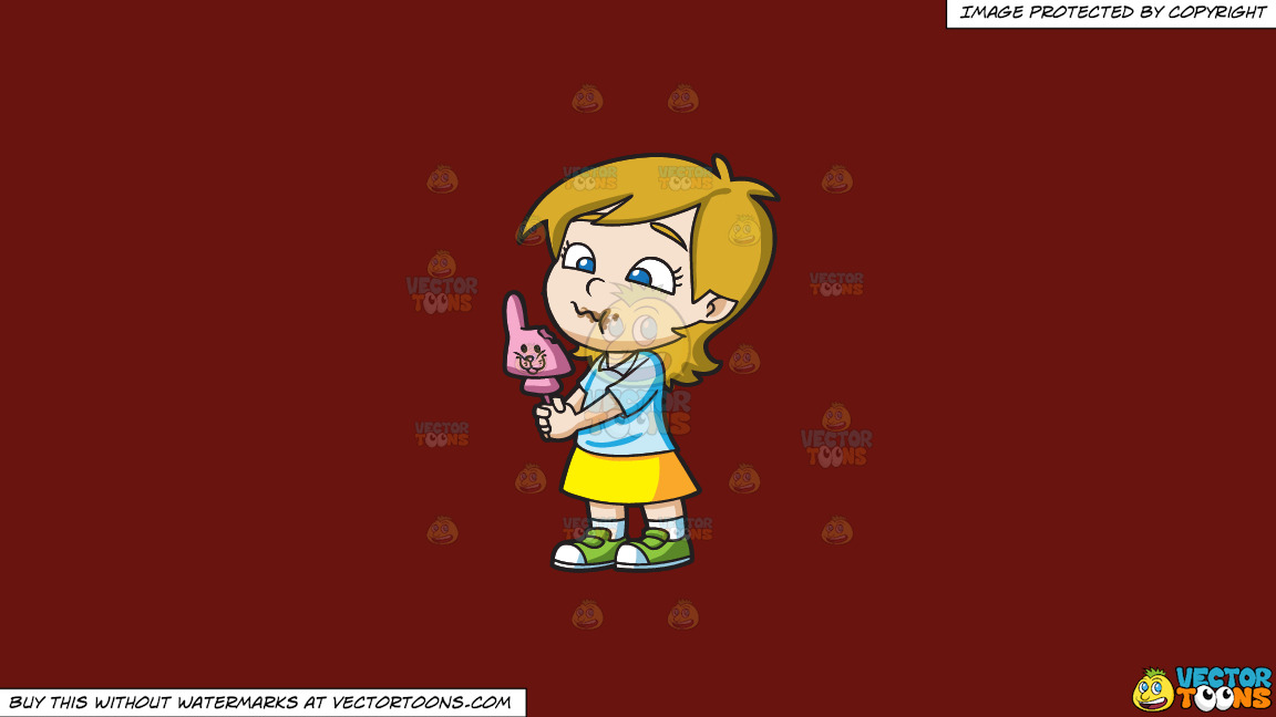 A Young Girl Nibbles A Pink Easter Bunny Chocolate On A Solid Maroon 69140e Background thumbnail