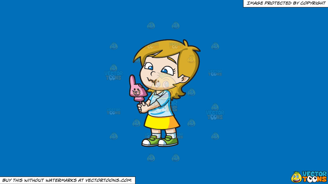 A Young Girl Nibbles A Pink Easter Bunny Chocolate On A Solid Spanish Blue 016fb9 Background thumbnail
