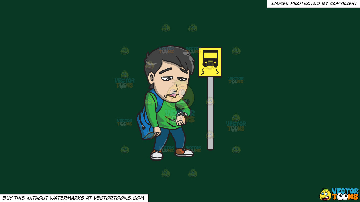 A Young Man Gets Bored While Waiting For A Bus On A Solid Dark Green 093824 Background thumbnail