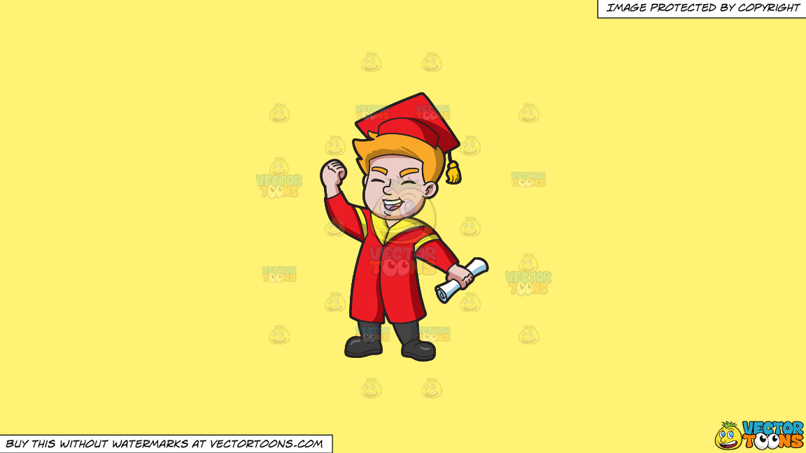 A Young Man Receiving His New School Degree On A Solid Sunny Yellow Fff275 Background thumbnail