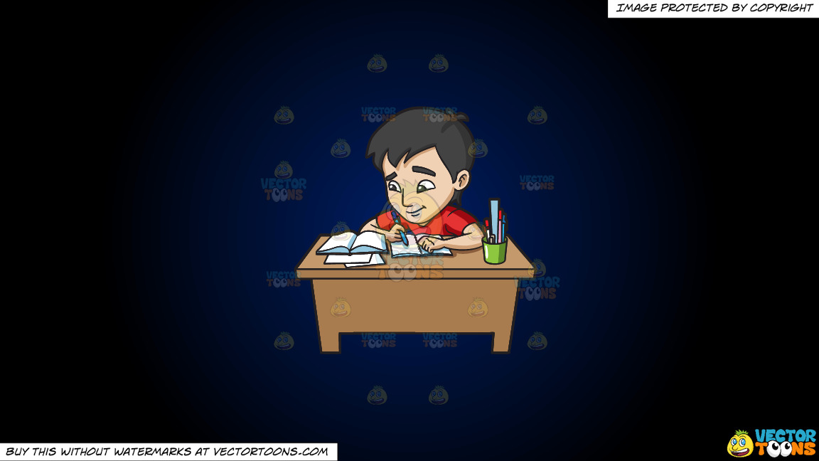 A Young Man Studying Happily For His Exam On A Dark Blue And Black Gradient Background thumbnail
