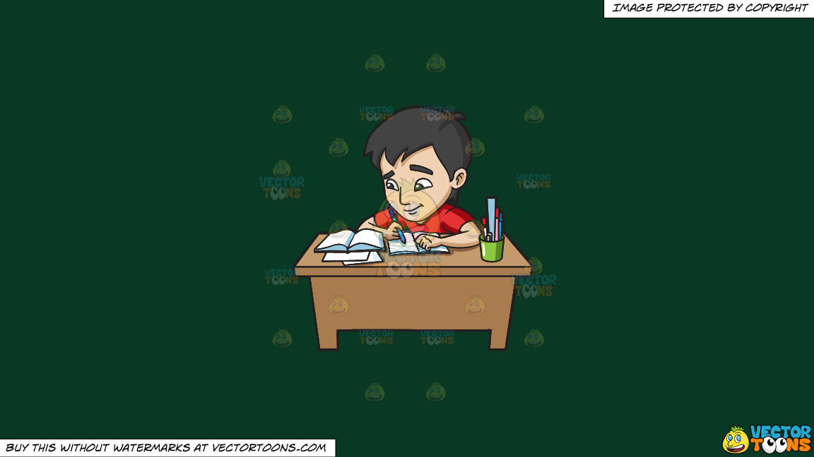 A Young Man Studying Happily For His Exam On A Solid Dark Green 093824 Background thumbnail