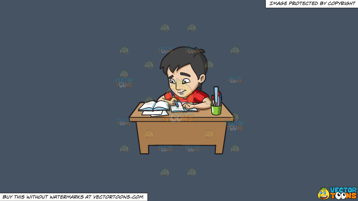 A Young Man Studying Happily For His Exam On A Solid Metal Grey 465362 Background thumbnail