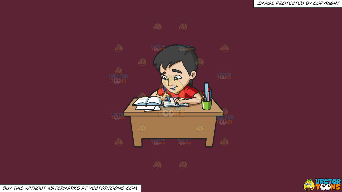 A Young Man Studying Happily For His Exam On A Solid Red Wine 5b2333 Background thumbnail