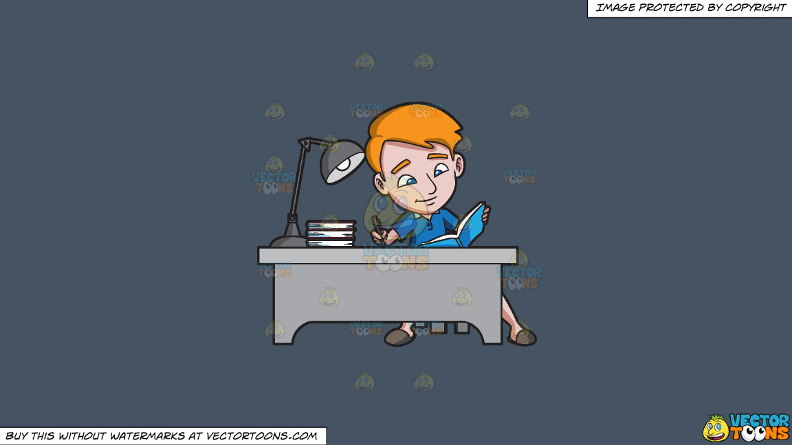 A Young Man Taking Down Notes From A Book On A Solid Metal Grey 465362 Background thumbnail