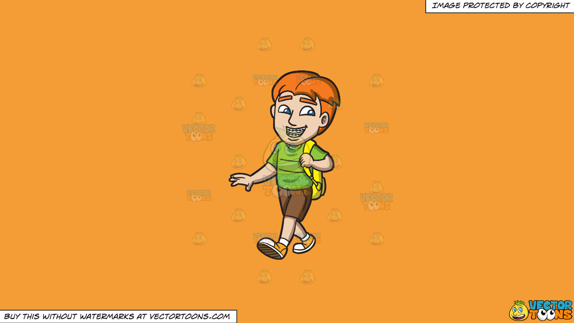 A Young Man With Braces On A Solid Deep Saffron Gold F49d37 Background thumbnail